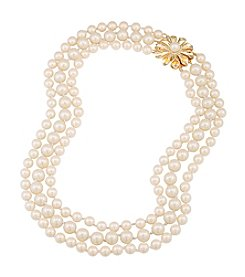 Carolee® Pearl Glam Three Row Pearl And Floral Burst Necklace