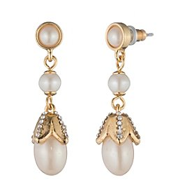 Carolee® Pearl Glam Pave Simulated Pearl Linear Pierced Earrings