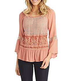 Democracy Mesh Trim Blouse
