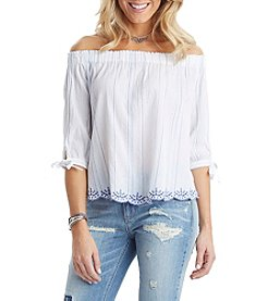 Democracy Off Shoulder Embroidered Hem Top