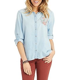 Democracy Button Down Pleat Back Top