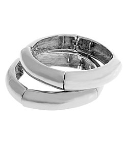 Erica Lyons® Silvertone Catch A Wave Stretch Bracelet Set