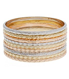Erica Lyons® Tri Tone Catch A Wave Nine Piece Bangle Bracelet Set