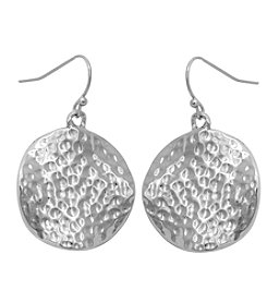 Erica Lyons® Silvertone Catch A Wave Hammered Drop Earrings