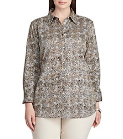 Chaps® Plus Size Non-Iron Leopard-Print Cotton Shirt