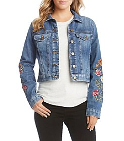 Karen Kane® Floral Embroidery Denim Jacket
