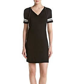 MICHAEL Michael Kors® Petites' Stripe Sleeve Hoodie Dress