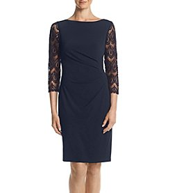 Jessica Howard® Lace Sleeve Ruched Dress