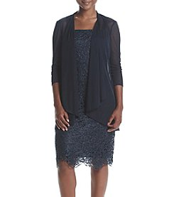 R&M Richards® Petites' Sheer Lace Jacket Dress