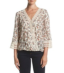 Democracy Wrap Print Top With Crochet Detail