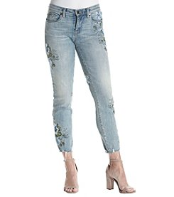 BLANKNYC® Embroidered Raw Hem Ankle Skinny Jeans