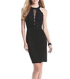 Morgan & Co.® Glitter Lace Scallop Bodycon Dress