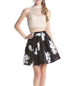 My Michelle® Two Piece Blush Floral Lace Top and Skirt