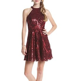 My Michelle® Sequin Lace Halter Party Dress