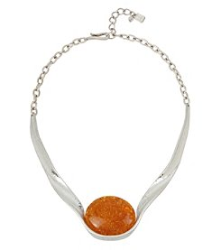 Robert Lee Morris Soho™ Silvertone Sculptural Necklace with Amber Stone
