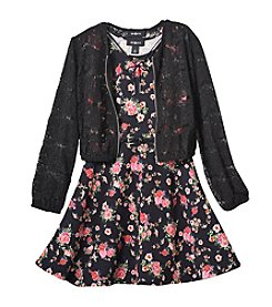 Amy Byer Girls' 7-16 Floral Dress and Lace Jacket