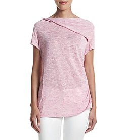 Jones New York® Draped Neck Side Shirred Knit Top