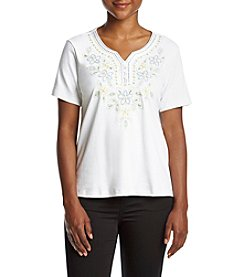 Alfred Dunner® Petites' Blue Lagoon Eyelet Border Embroidered Top