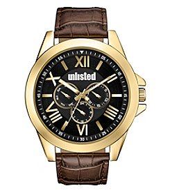 Unlisted By Kenneth Cole® Goldtone Brown Strap Watch