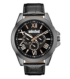 Unlisted by Kenneth Cole® Gunmetal Black Strap Watch