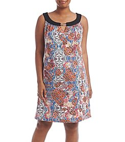 Studio Works® Plus Size Keyhole Neckline Printed Dress