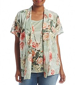 Alfred Dunner® Plus Size Botanical Woven Layered Look Top