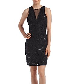 Morgan & Co.® Allover Lace Deep V Illusion Dress