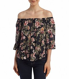 Hippie Laundry Floral Print Off Shoulder Top
