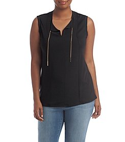 MICHAEL Michael Kors® Plus Size Woven Panel Chain Tie Top