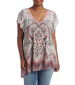 Oneworld® Plus Size Print V-Neck Tee