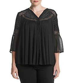 Chelsea & Theodore® Plus Size Bell Sleeve V-Neck Top