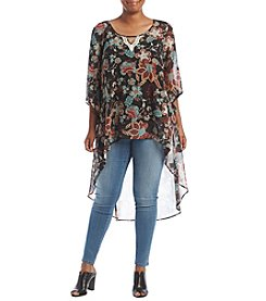 Oneworld® Plus Size High Low Floral Print Woven Top