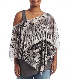 Oneworld® Plus Size Tie Dye Overlay Woven Top