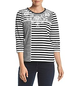 Alfred Dunner® Striped Embroidered Top