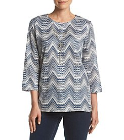 Alfred Dunner® Zig Zag Top With Necklace