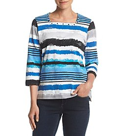 Alfred Dunner® Striped Square Neck Shirt