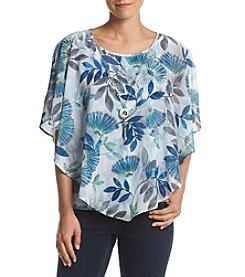 Alfred Dunner® Scattered Leaves Overlay Top