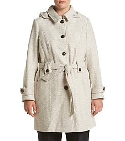 Gallery® Plus Size Tweed Hooded Coat