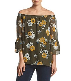 AGB® Floral Printed Bell Sleeve Tunic