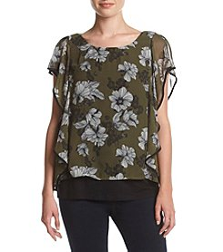 AGB® Floral Printed Ruffle Top