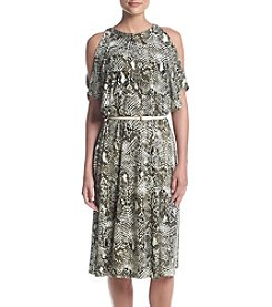 Jones New York® Cold Shoulder Snake Printed Dress