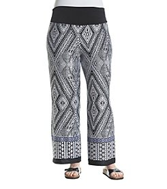 AGB® Plus Size Printed Soft Pants