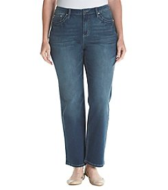 Earl Jean Plus Size Faux Leather Back Pocket Jeans