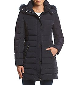 Tommy Hilfiger Stand Collar Faux Fur Hood Quilted Coat