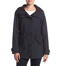 Gallery® Navy Drawstring Waist Anorak Coat