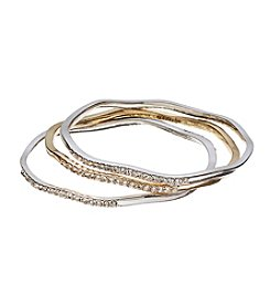 Napier® Two Tone Pave Box Bangle Set