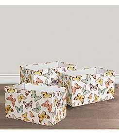 Lush Decor 3-Piece Flutter Butterfly Print Collapsible Box Set