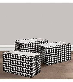 Lush Decor 3-Piece Houndstooth Print Collapsible Box Set