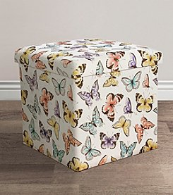 Lush Decor Flutter Butterfly Print Collapsible Ottoman