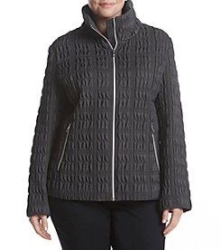 Anne Klein Plus Size Stretch Quilted Stand Collar Coat